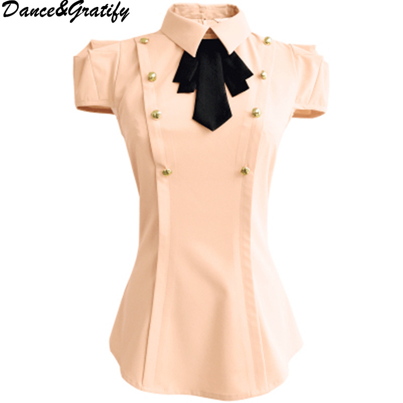 New Summer Preppy Style Women Turn Down Collar Bowtie Tshirt Sweet Girls Short Sleeve Slim All Match Top Blusas image