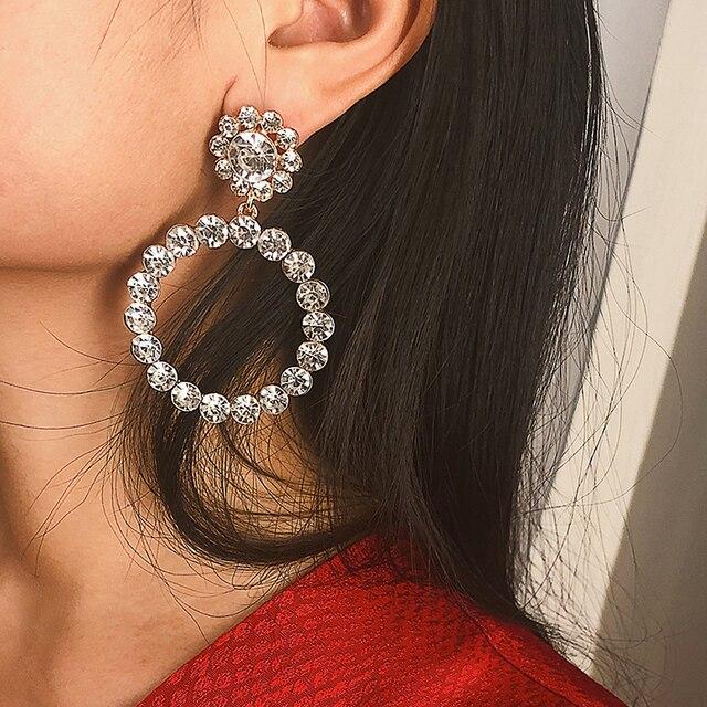 Trendy Crystal Round Pendant Pearl Drop Earrings For Women 1
