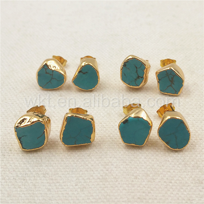 Wt E265 Genuine Howlite Studs Jewelry Randomly Shape Stone Gold For Making Gift Her In Drop Earrings From