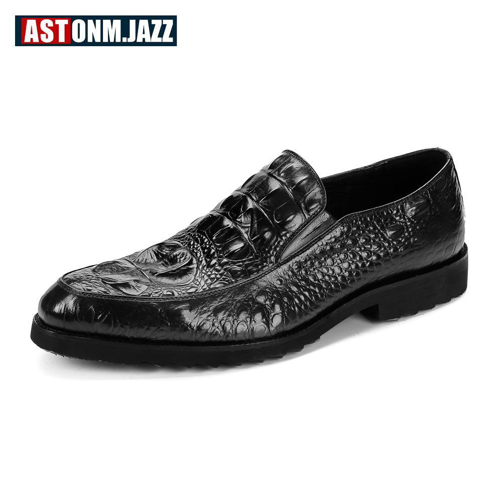 Mens Wedding Dress Shoes Leisure Casual Crocodile Leather Oxfords Shoes For Men Business ...
