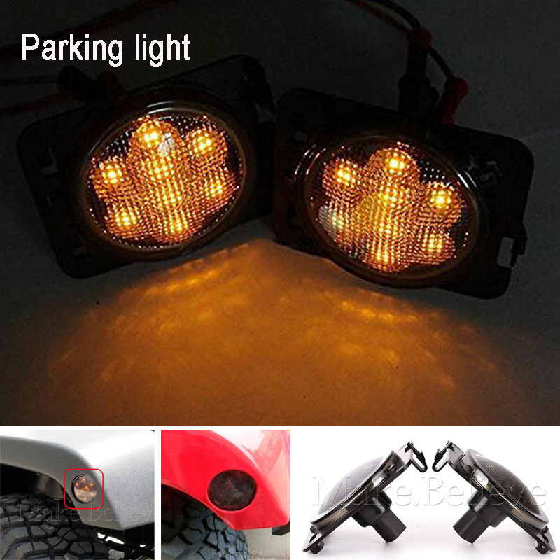 Pair Smoked Parking Side Marker LED Light Front for 07-15 JEEP WRANGLER Front Fender Smoked Amber LED Parking Side Lights 4pcs 2 red 2 amber hd led fender bed side marker lights smoked lens for dodge ram