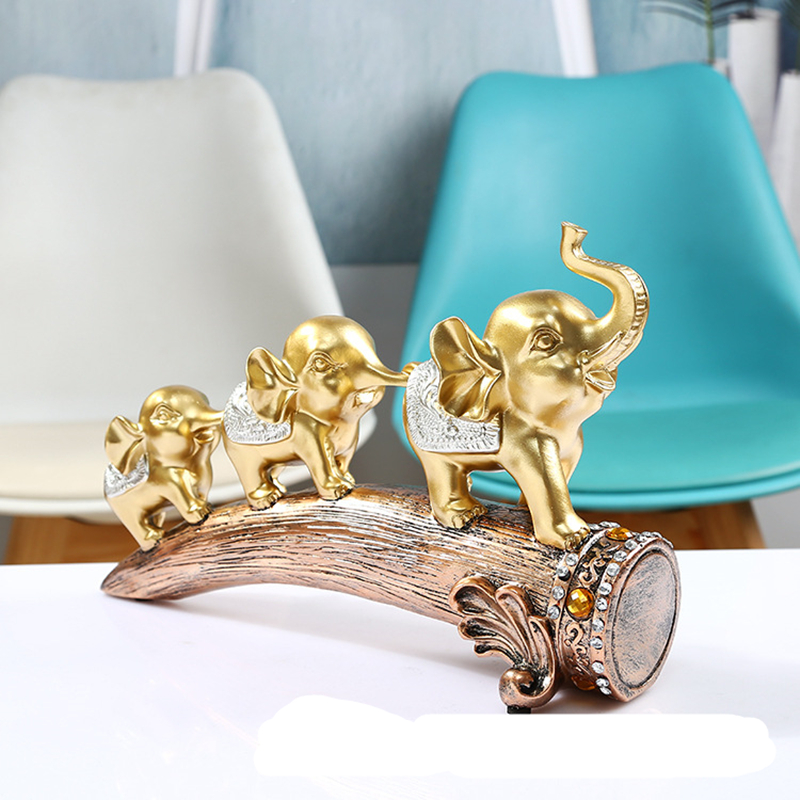Three Gold Elephant Animal Resin Statue Crafts Decoration Living Room TV Cabinet Decoration Porch Wine Cabinet Decoration