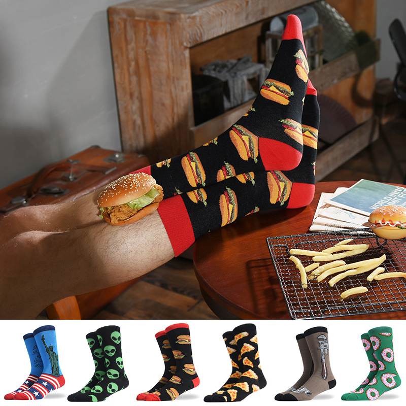 Fashion Men's Combed Cotton Crew Colorful   Socks   Pizza Hamburger Donut Pattern Novelty Casual Dress Funny Wedding   Socks   For Gifts
