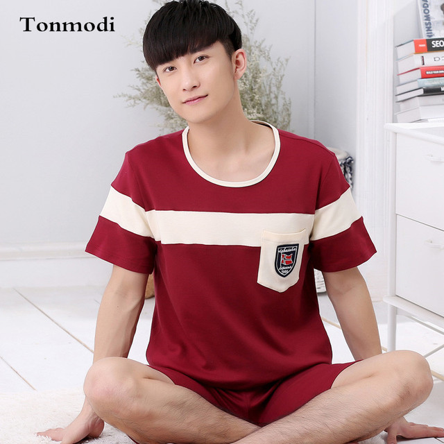Men Sleepwear Summer Short-sleeve Cotton Shorts Pyjamas Thin Pullover Lounge Pajama Set Plus Size