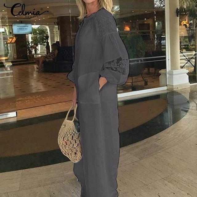 Celmia Women Long Shirt Dress 2020 Summer Bohemian Beach Dresses Lace Stitching Long Sleeve Casual Loose Party Maxi Vestidos 5XL
