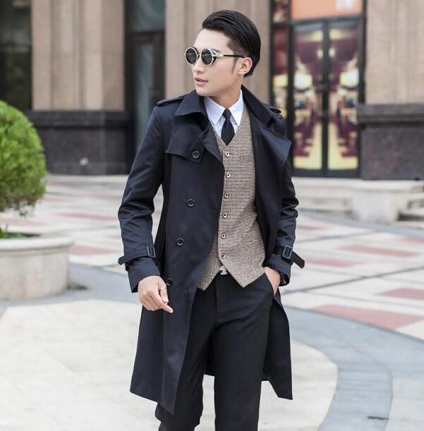 Wholesale ! Designer teenage slim sexy long trench coat men mens trench coat classic business outerwear belt plus size S - 9XL