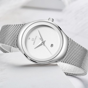 Image 2 - Zegarki damskie NAVIFORCE Top luksusowa marka Lady Fashion Casual prosty stalowy siatkowy zegarek na rękę z paskiem, bransoletą prezent dla dziewczyn Relogio Feminino