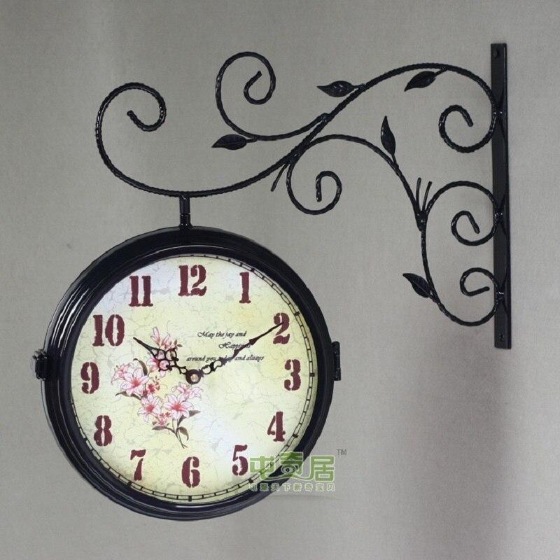 Montre horloge murale Double face fer forgé horloges murales métal décor maison Klok Wanduhr Wandklok Saat Relogio Parede Duvar Saati
