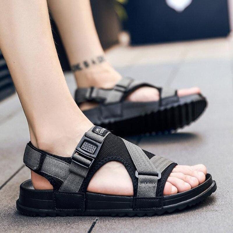 Aberto Dedo Com Masculinos Plano Novos Black Grande Do Respirável Dos Verão De Homens 2019 grey Praia Sapatos Sandálias Tamanho Da Casuais axIqWwXZ4U