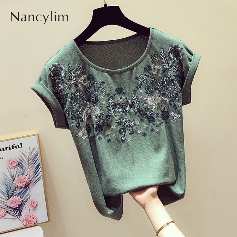 2019 Summer Retroembroidered Tshirt Women New Korean Round Collar Curly Cuff Short-sleeved T-shirt Casual Shirts Lady Tops Femme