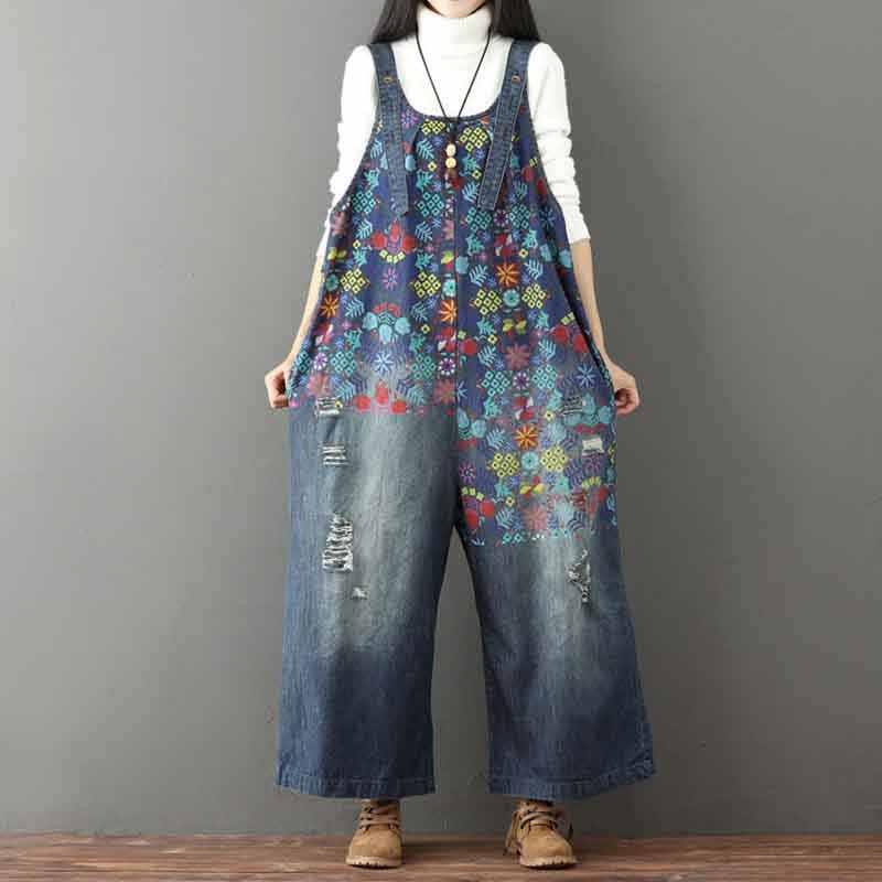 Helisopus Винтаж с цветочным принтом с разрезами Жан комбинезон больших размеров с широкими штанинами Комбинезон для Для женщин с заниженным шаговым швом; детский джинсовый комбинезон