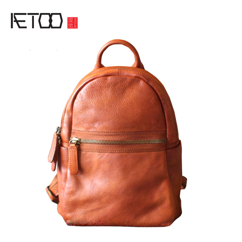 где купить AETOO Original female bag yellow brown shoulder bag tide retro college wind hand leather casual personality first layer cowhide по лучшей цене