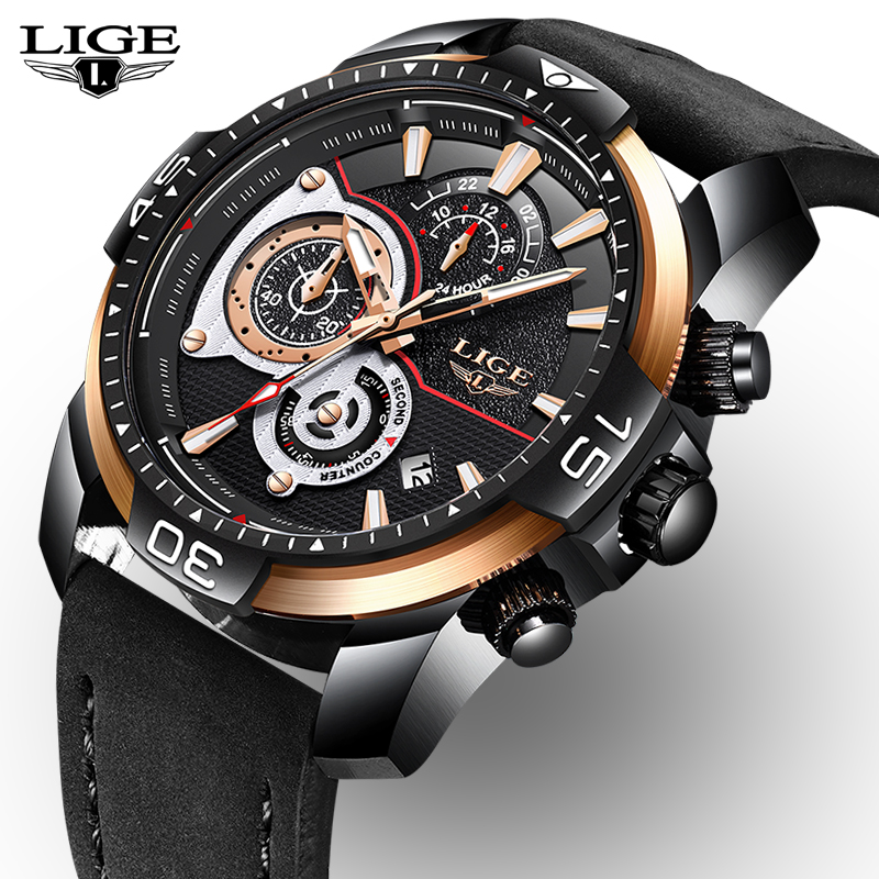 купить 2018 New Mens Watches Top Brand Chronograph Quartz Clock Male Sports Leather Waterproof Watch Black Watch Men Relogio Masculino недорого