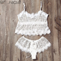 MOONIGHT White Lingerie Sets Exotic Apparel Women Sexy Lingerie Hot Sexy Costumes Lace Perspective Lingerie Set Plus Size