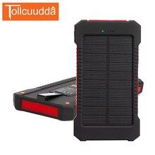 Tollcuudda 10000 мАч Солнечный повербанк Портативный PowerBank подходит для всех телефонов внешний Зарядное устройство Срок службы батареи Водонепроницаемый со светодиодной