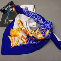 Temperament Floral Print 100 Silk Twill Scarf Shawl Wraps Women S Square Silk Scarves 90x90cm Charming