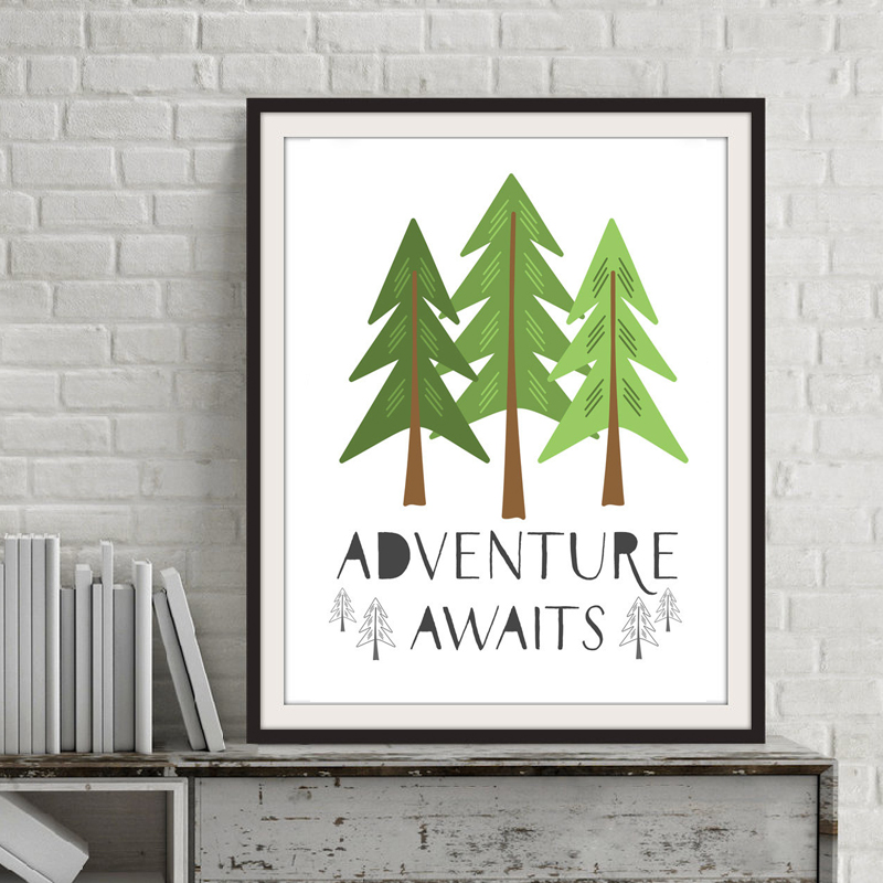 150 Best Printable Wall Art Quote Posters Nursery Kids: Adventure Awaits Quote Pine Trees Canvas Painting Nursery