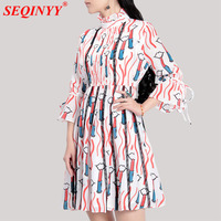Fresh Sweet Dress For Women 2018 Summer High End 3 4 Flare Sleeve Stand Collar Sexy