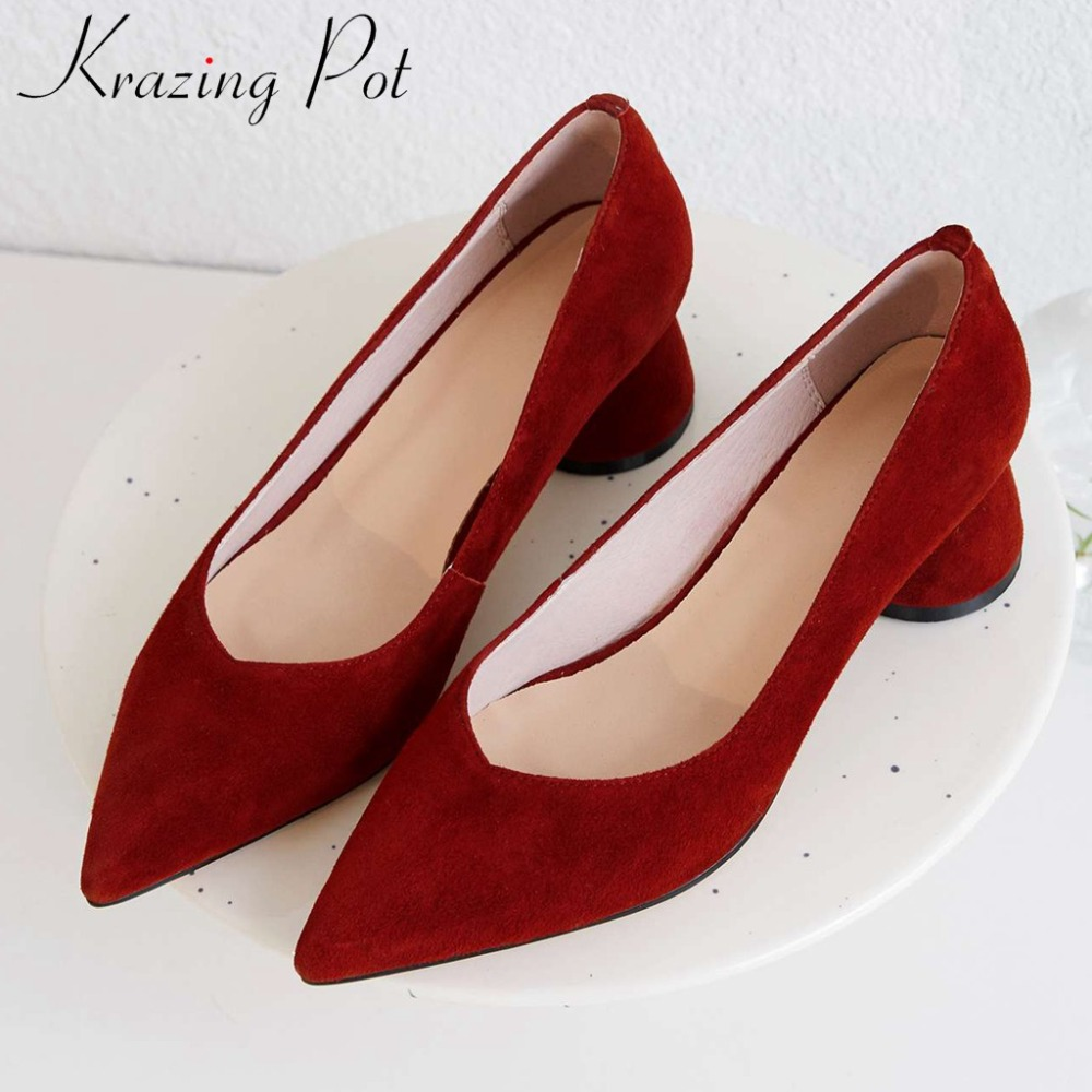 Krazing Pot woman bride wedding party pumps sexy pointed toe med heels concise style superstars genuine