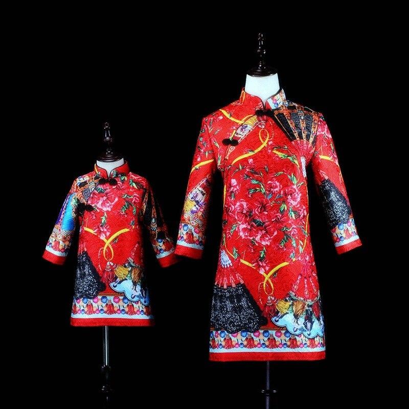Maman mère fille robes Vintage Style hiver bébé et maman vêtements pour la famille Look vêtements rouge famille correspondant tenues