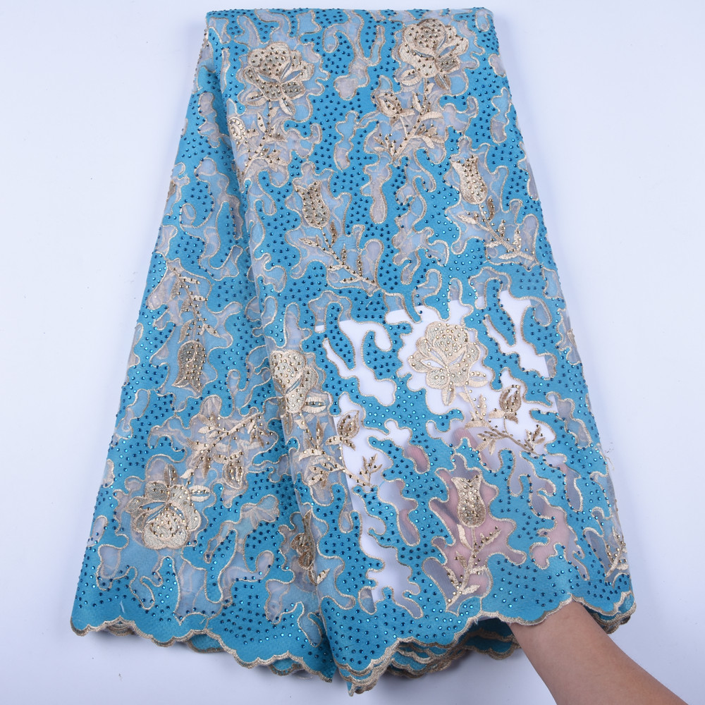 Blue African Lace Fabrics 2019 High Quality Lace Nigerian Tulle Lace Fabric Gold Line Milk Silk