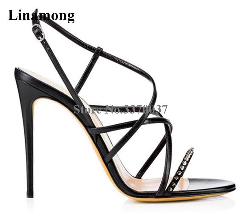 Summer New Fashion Women Open Toe Strap Cross Rivet Thin Heel Sandals Cut-out Super High Heel Spike Sandals Formal Dress Shoes
