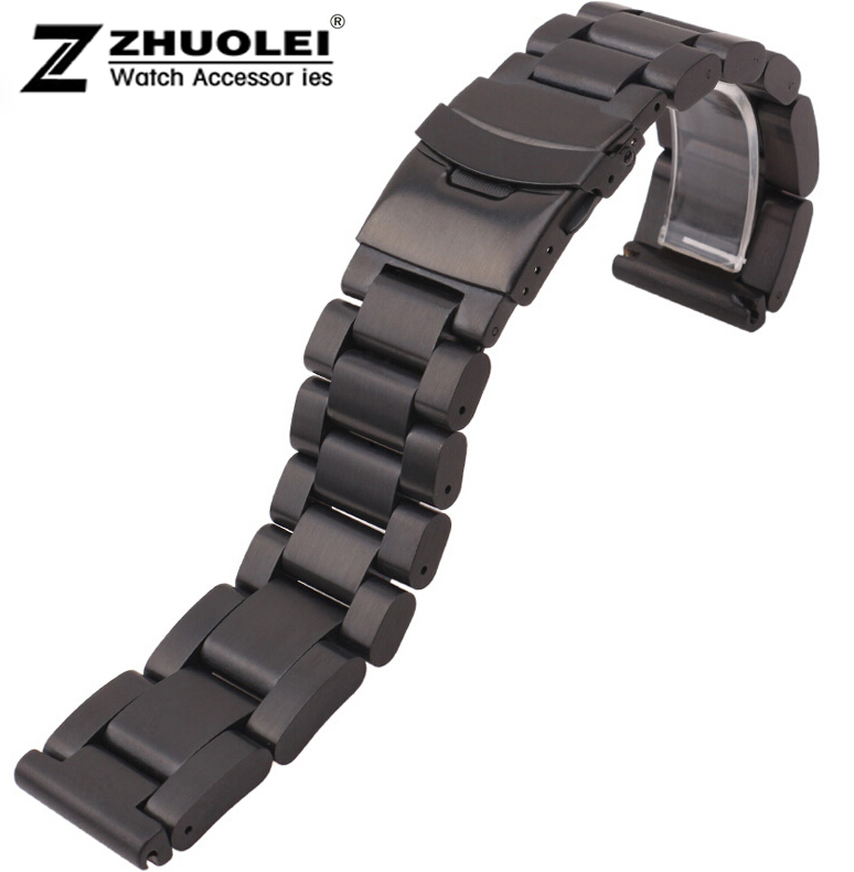 Watch Strap 22mm 24mm 26mm New Men Heavy Black Brushed Stainless Steel Watchbands Bracelets Double Lock Watch buckle Watch Clasp watch band 22mm new gold brushed stainless steel bracelet watchbands strap bracelets double flip lock clasp free shipping