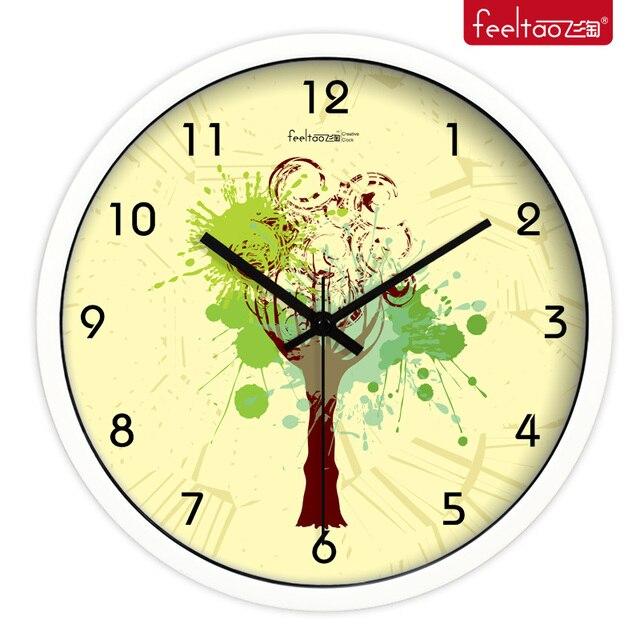 Personality big tree art painting clock fashion living room wall ...