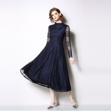 PADEGAO Lace Sexy Spring Dress Womens 2019 New Fashionable Long-sleeved Standing Collar Retro-pure Color Mid-calf Long
