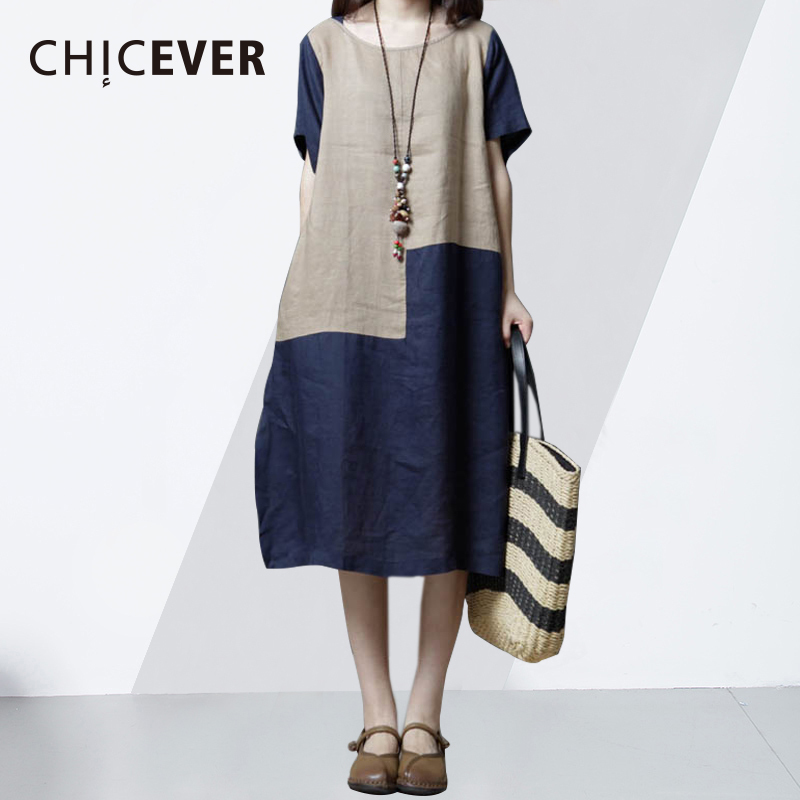 CHICEVER Hit Color Woman Dress 2018 Summer O Neck Short Sleeve Plus Size Casual Womens Dresses Pockets Top Fashion Tide