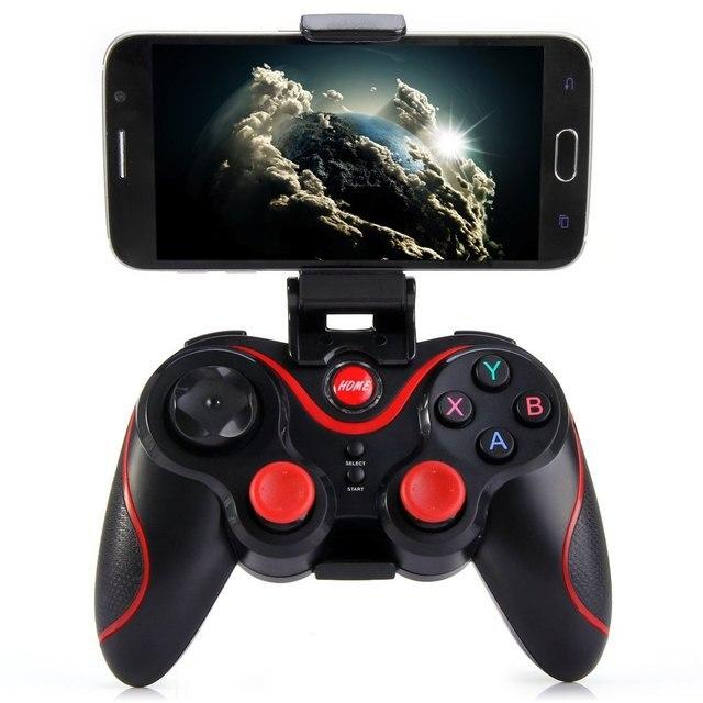 Terios S3 Sem Fio Bluetooth Gamepad Do Bluetooth Joystick Gaming Controller Preto para Android Smartphone Tablet Suporte Incluído