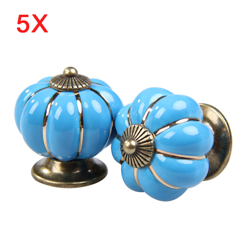 5Pcs Pumpkin Door Pull Handle Cabinet Cupboard Drawer Ceramic Knobs Blue HG99 дверная ручка door handle puxadores hg h14122501