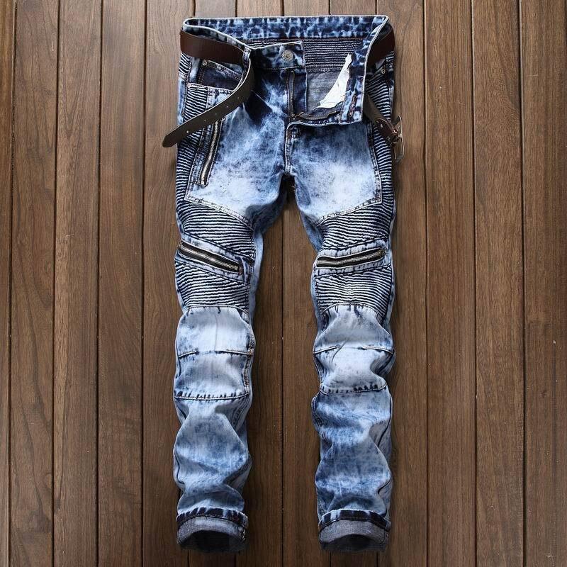 Brand Designer Denim Trousers For Male Pleated Biker Jeans Pants 2019 Men's Slim Fit Straight Washed Multi Zipper Pants Homme