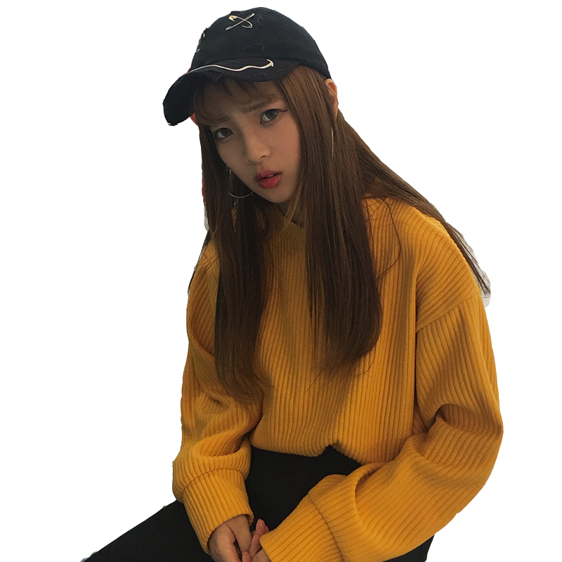 Fashion Women Hoodies Solid Harajuku Student Style O-neck Females Sweatshirt Kpop Loose Casual Korean Womens Pullovers Female