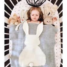 105*75cm Rabbit Baby super soft Blanket Cute Bunny ear Crochet Blankets Newborn Fotografia Props twins Kids knitted blanket GT02
