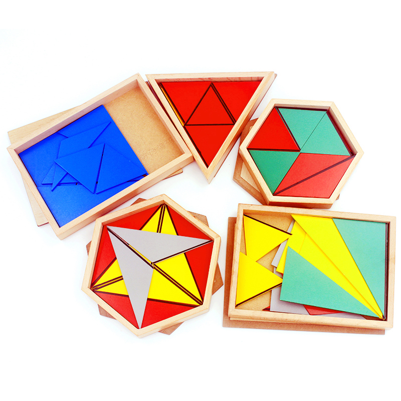 High Quality Wooden Montessori Materials Toys Constructive Triangles Rectangular Pentagon 5 Sets Early Preschool Educational