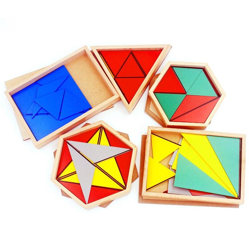 alta qualidade materiais de brinquedos de madeira montessori triangulos construtivo retangular pentagono 5 conjuntos preschool educacional