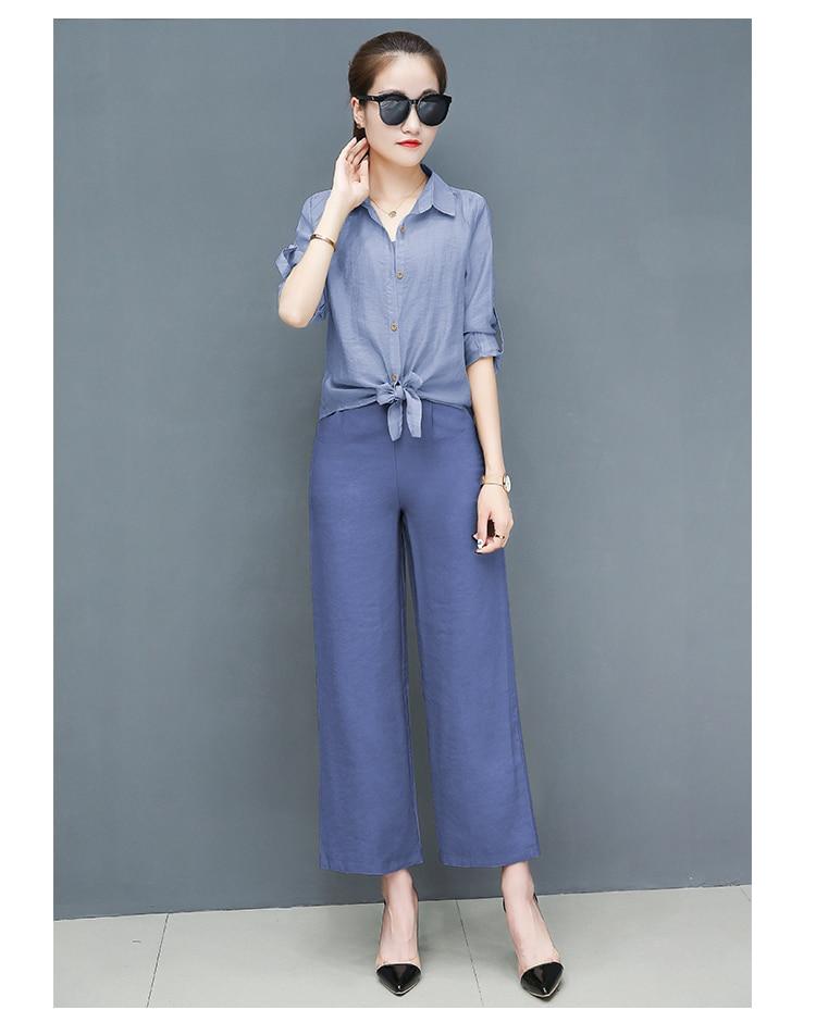 2019 Spring summer women sets office lady elegant chiffon blouse shirts+female wide leg pants trousers pantalon two piece sets 19