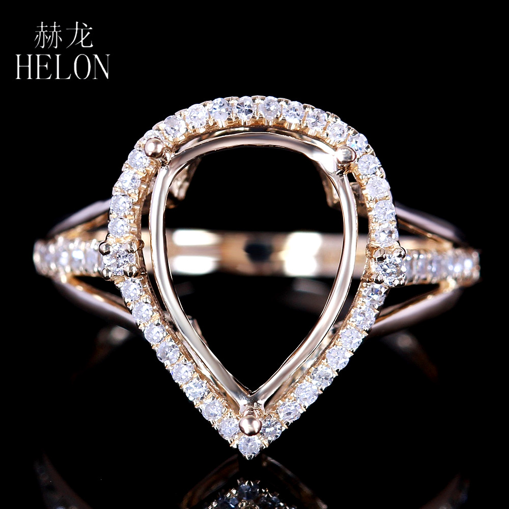 HELON Solid 14K Yellow Gold 12x8mm Pear Shape Pave Natural Diamond ring Engagement Wedding Semi Mount Womens Jewelry Fine RingHELON Solid 14K Yellow Gold 12x8mm Pear Shape Pave Natural Diamond ring Engagement Wedding Semi Mount Womens Jewelry Fine Ring