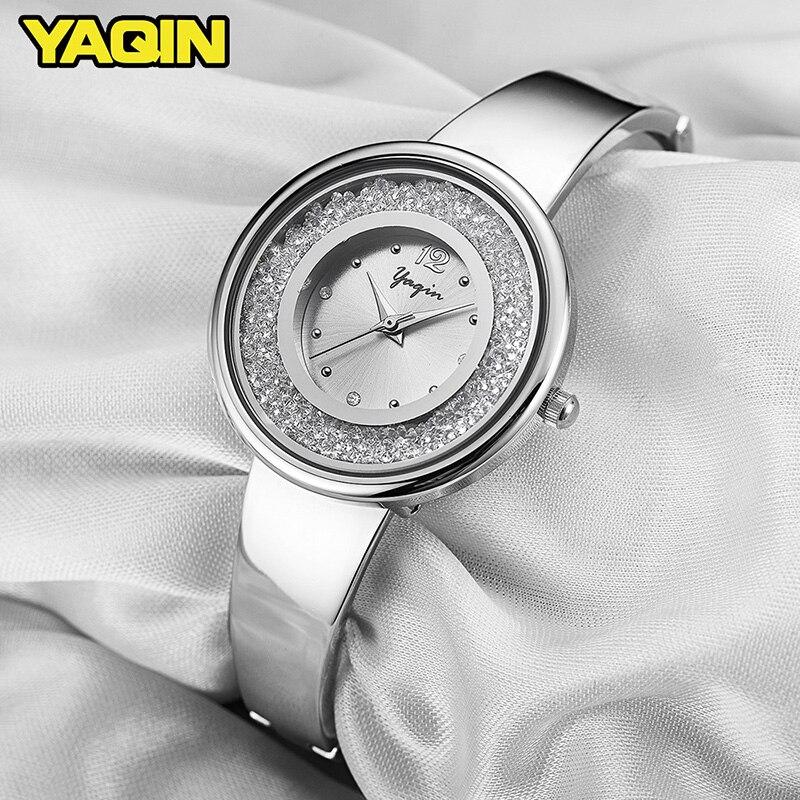 Nieuwe mode hoge kwaliteit luxe merk YAQIN vrouwen horloge roestvrij - Dameshorloges - Foto 4