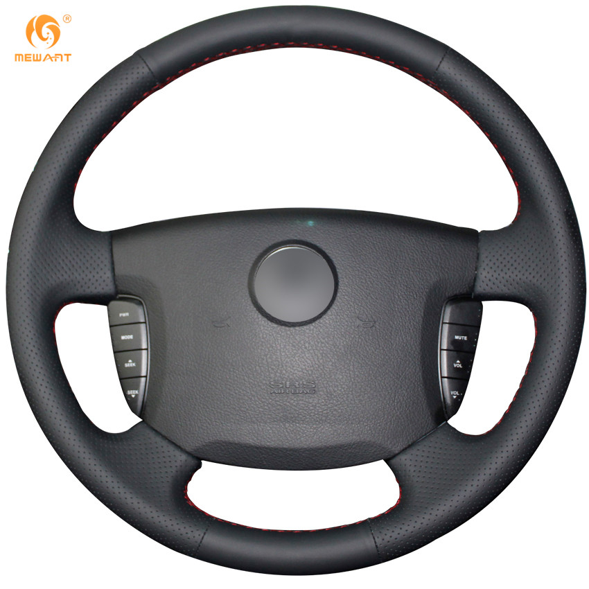 MEWANT Black Genuine Leather Car Steering Wheel Cover for Ssangyong Actyon Kyron