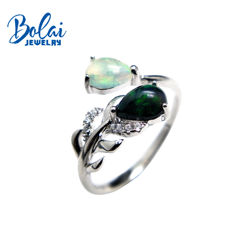 bolaijewlry feather shape rings natural multicolor opal gemstone in 925 sterling silver fine jewelry for lady