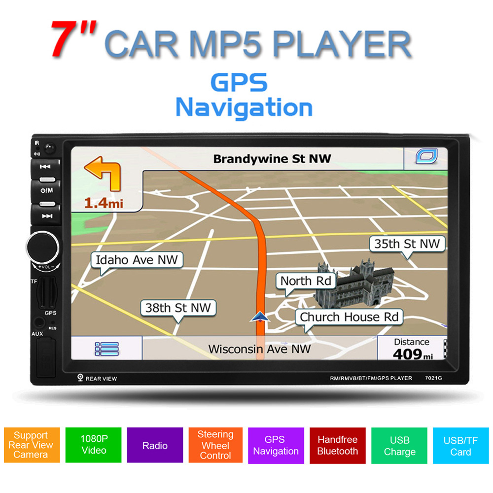 GPS 7inch Touch Screen Support hands-free calls 2Dins Car Stereo MP5 Player FM USB SD TF Bluetooth Multimedia