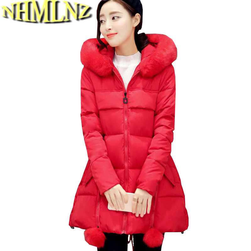 Winter Warm Cotton Down jacket New Fashion Women Coat Pure color Long sleeve Hooded Fur collar Jacket Thick Big yards Coat G2717 europe winter big yards women coat warm duck down down jacket elegant pure color casual thick hooded slim women short coat g0451