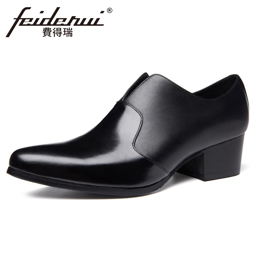 2018 Patent Leather Formal Dress Men's Prom Loafers Pointed Toe Handmade Male Footwear High Heels Man Wedding Party Shoes HQS327