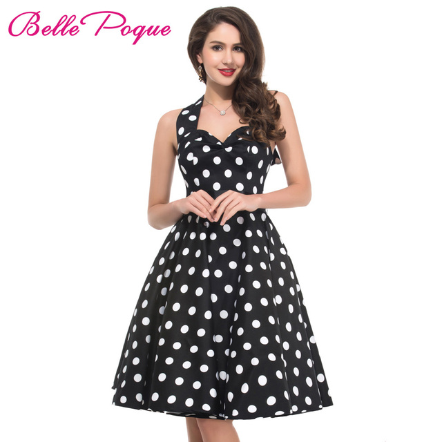 9a984d467a096 Summer Women Dress Vestidos Retro 1950s 60s Vintage Dress Polka Dots Pinup Rockabilly  Big Size Sexy Halter Short Party Dresses