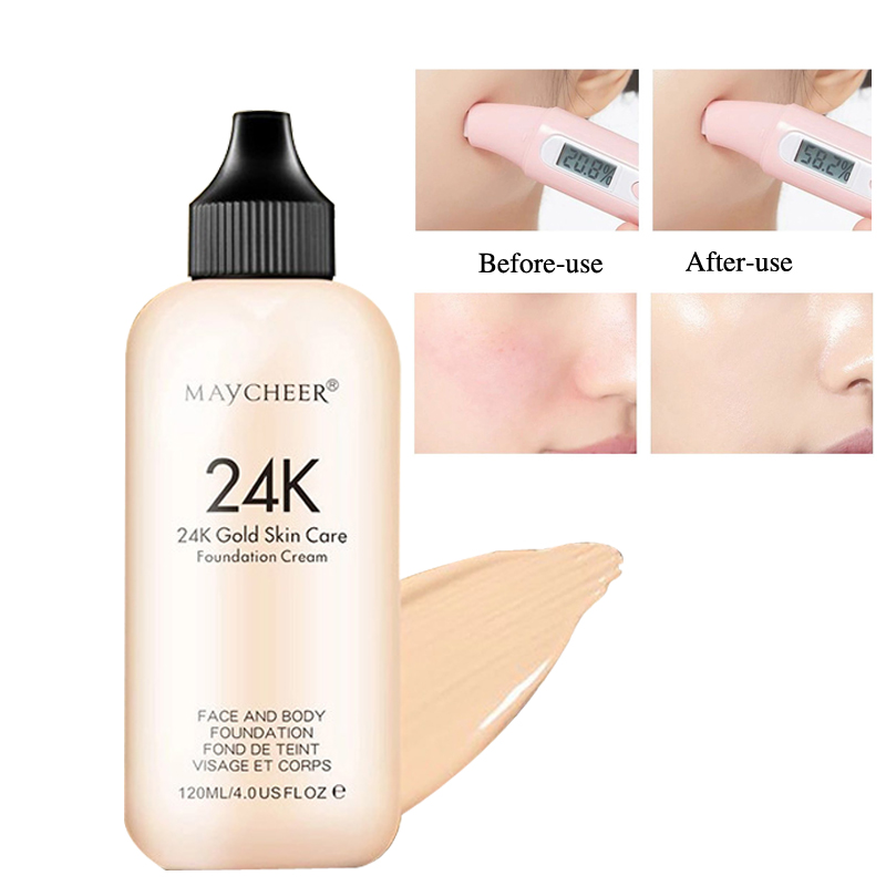 24K Moisturizing Long Lasting Liquid Face Foundation Makeup Face Coverage Naturally Concealer Oil-controling Lightfeel Cream 3