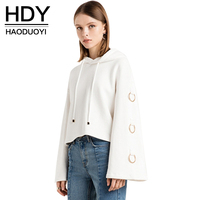 HDY Haoduoyi Women Simple Metal Ring Sweatshirt White Hoodies Fashion Long Sleeve Tops Loose Short Hooded Pullover Hot Wholesale