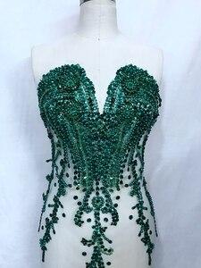 Image 3 - 손으로 만든 라인 석 아플리케 메쉬 딥 그린 트림 패치 66*34 cm 웨딩 드레스 액세서리 7 색