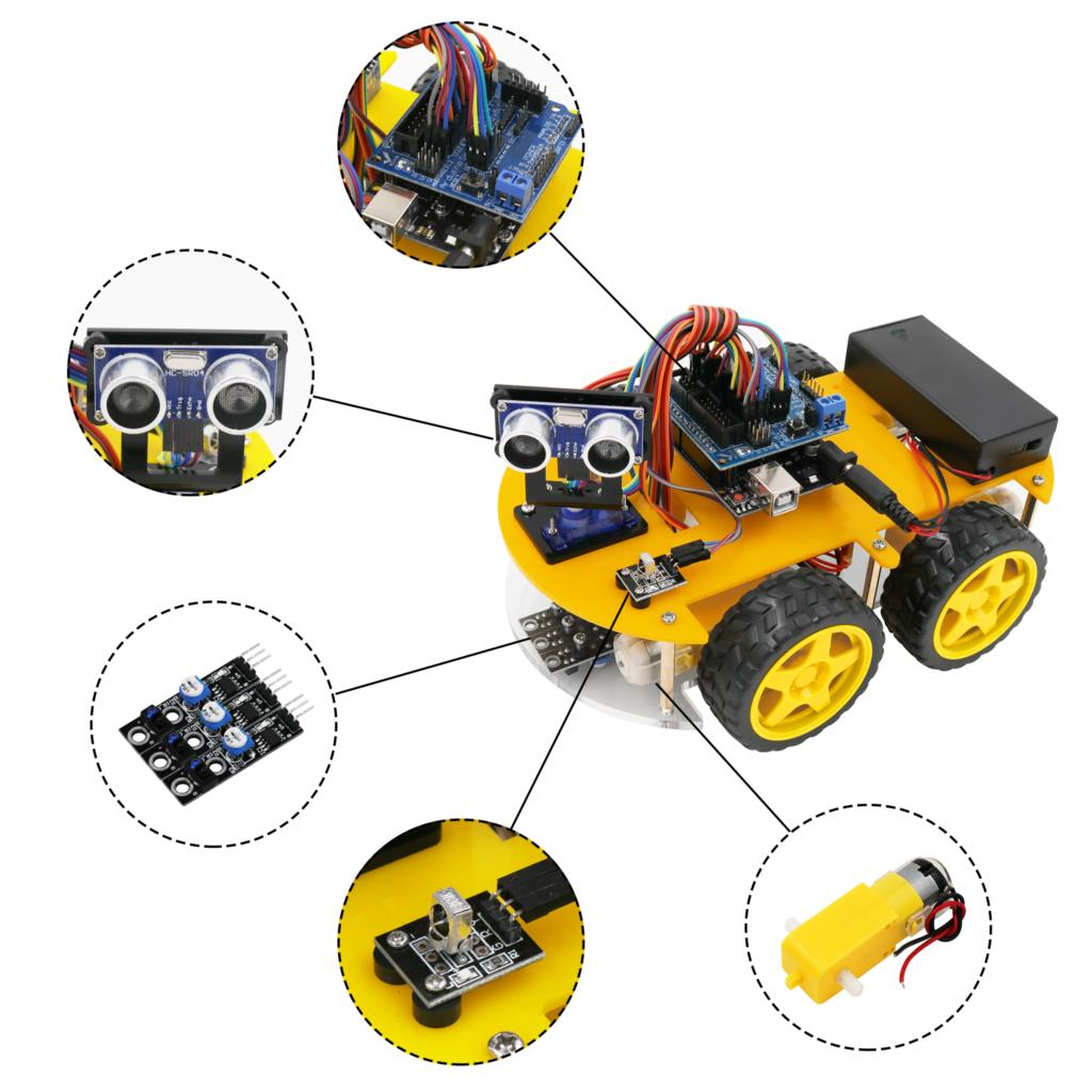 Image 4 - LAFVIN Smart Robot Car Kit for UNO R3,Ultrasonic Sensor, Bluetooth Module for Arduino with Tutorial-in Integrated Circuits from Electronic Components & Supplies